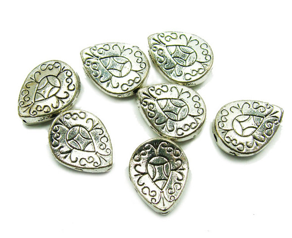 10x12mm  10 pieces Bali style pewter flat concave leaf beads