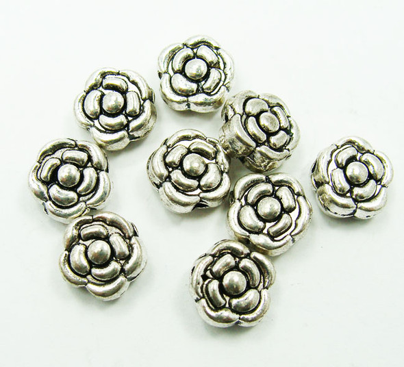 9mm  16 pieces Bali style pewter rose beads