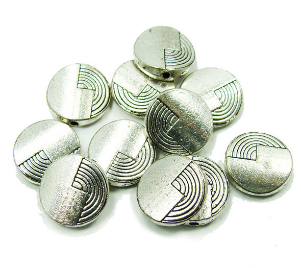 11mm  10 pieces Bali style pewter flat coin beads