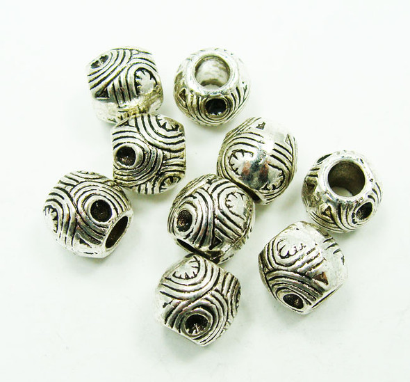 8x9mm  20 pieces Bali style pewter drum beads