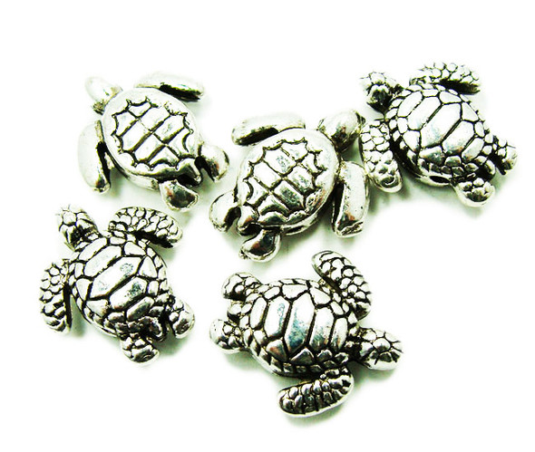 15x18mm  10 pieces Bali style pewter turtle beads