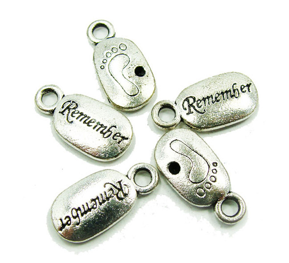 "10x20mm  5 pieces Bali style pewter ""Remember"" message beads"