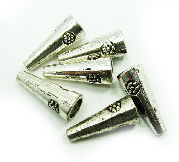 8mm base  20mm long  10 pieces Bali style pewter cone shaped beads