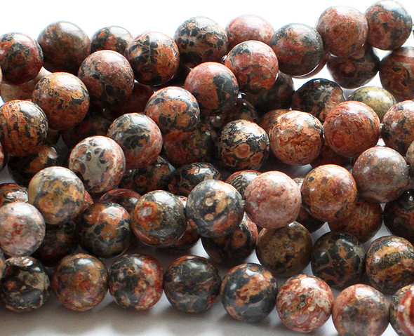 10mm Red Leopard Skin Jasper Round Beads
