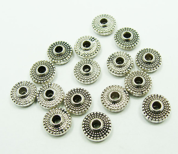 3x8mm  30 pieces Bali style pewter rondelle beads