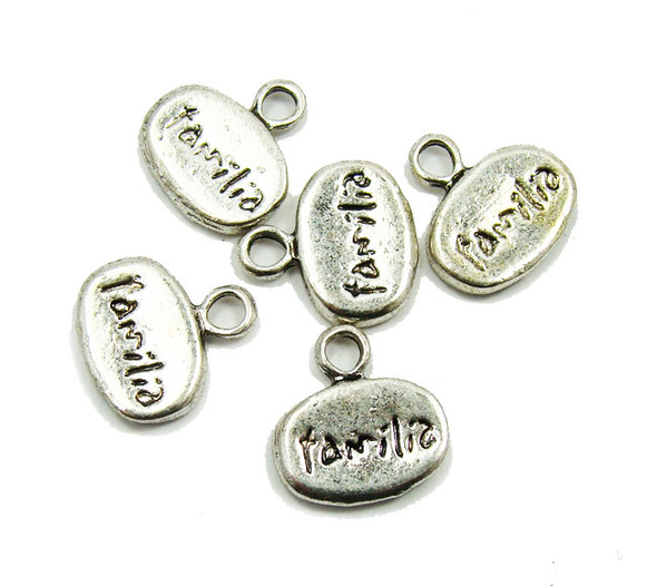 "8x11mm  5 pieces Bali style pewter ""Familia"" message beads"