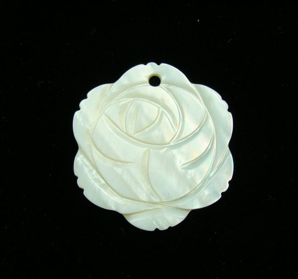 30mm White Shell Rose Pendant