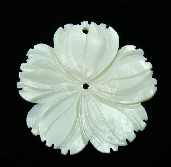 50mm Top And Center Drilled White Shell 5-Petal Flower Pendant