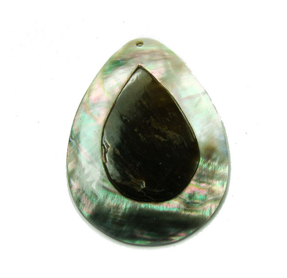 45x60mm  teardrop top shell Double black shell teardrop pendant