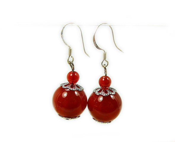 1 1/2 inches long  silver hooks Carnelian/red agate earrings