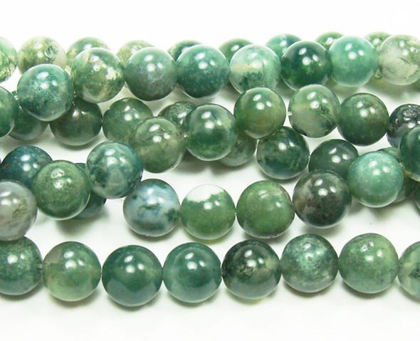 4mm Moss opal round beads