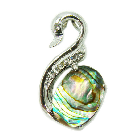 20x30mm Abalone Shell Swan Pendant