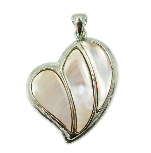 33x40mm Pink shell fancy heart pendant