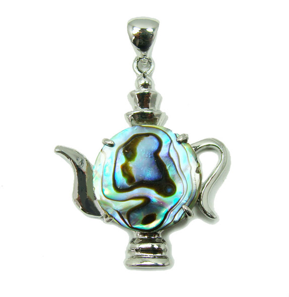37x37mm Abalone shell teapot pendant