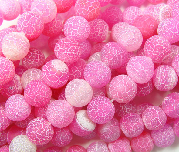 10mm  14 inches Hot pink matte agate round beads