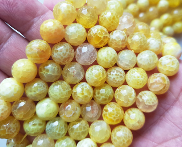 6mm  15.5 inches Yellow fire agate faceted round beads