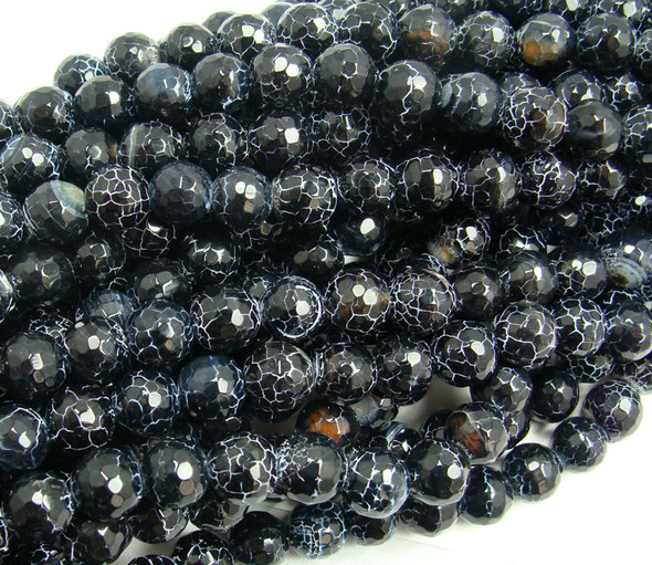 8mm 15 Inches Black Matrix Agate Faceted Round Beads