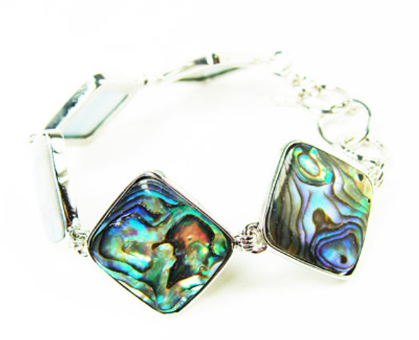 7.5 - 8 inches  adjustable size Abalone shell rhombus-shaped fashion bracelet