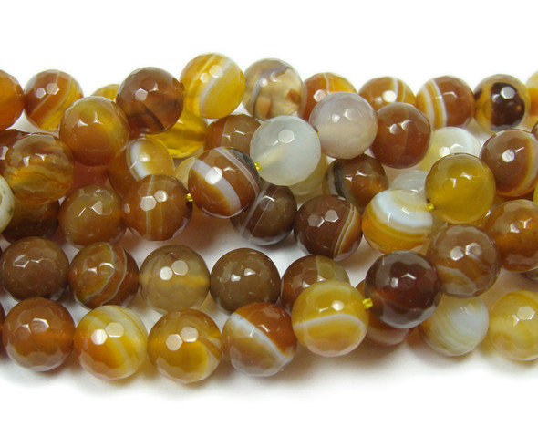 8mm About 48 Beads Light Brown Striped Agate Faceted Round Beads