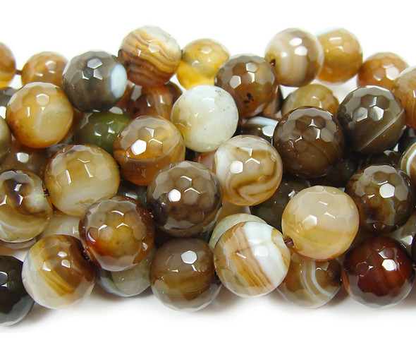 8mm About 47 Beads Dark Brown Striped Agate Faceted Round Beads