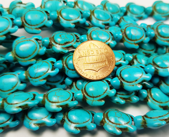 14x17mm Turquoise Howlite Carved Swimming Sea Turtle Beads