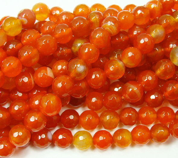 12mm 15.5 Inch Strand Bright Red Agate Faceted Round Beads