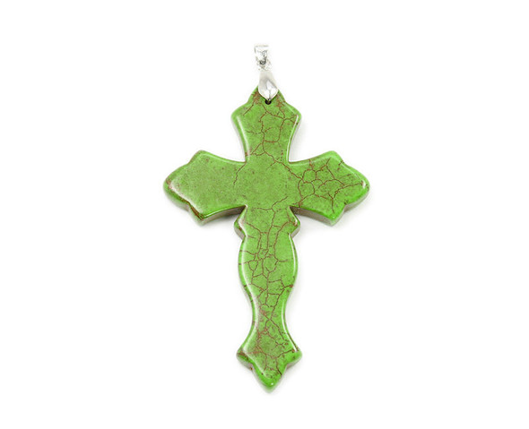 29x44mm Green howlite cross pendant with bail