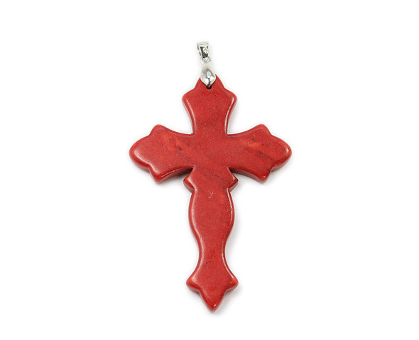 55x77mm Red Howlite Large Cross Pendant With Bail