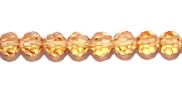 6mm  13.5 inches Goldenrod glass faceted round beads