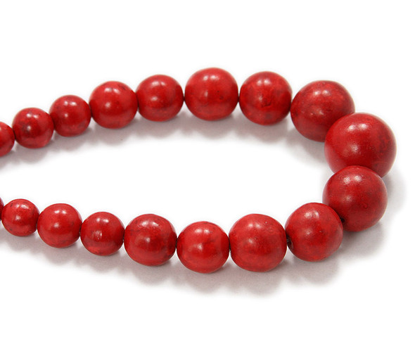 8 - 20mm 19.5 Inches Red Howlite Graduated Round Beads