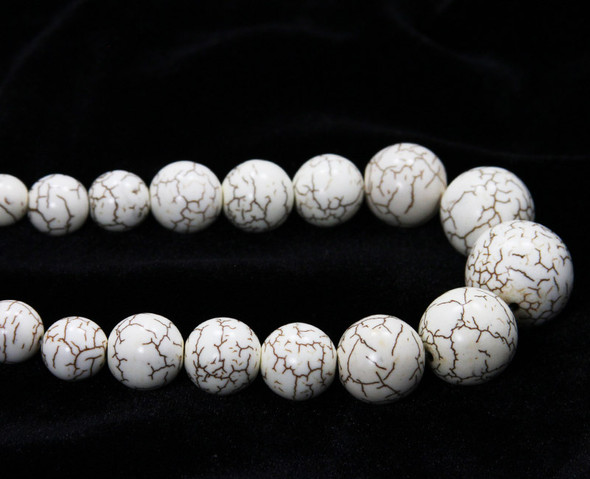 8 - 20mm 19.5 Inches White Howlite Graduated Round Beads