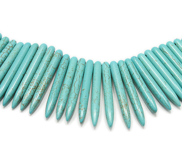 20-50x5mm 18 Inch Strand Turquoise Howlite Graduated Sticks