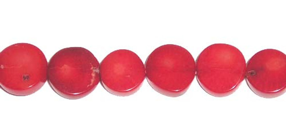 7-9mm Bamboo coral flat coin beads