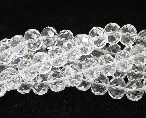 4x6mm  17 inches White crystal glass faceted rondelle beads