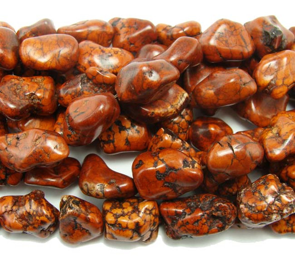 16x22-18x25mm  16 inches  chocolate Howlite free-form nuggets
