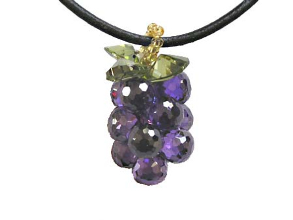 25mm CZ grape pendant, amethyst color