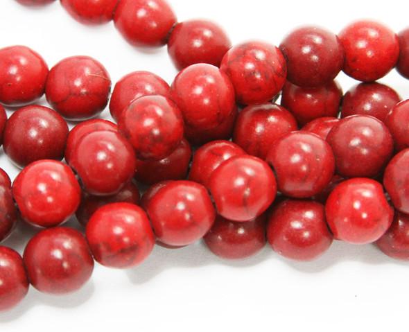 4mm  16 inch strand Red howlite round beads