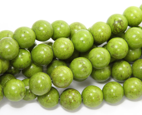 12mm Green howlite round beads