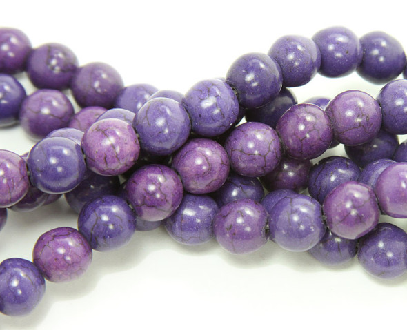14mm  15.5 inch strand Purple howlite round beads