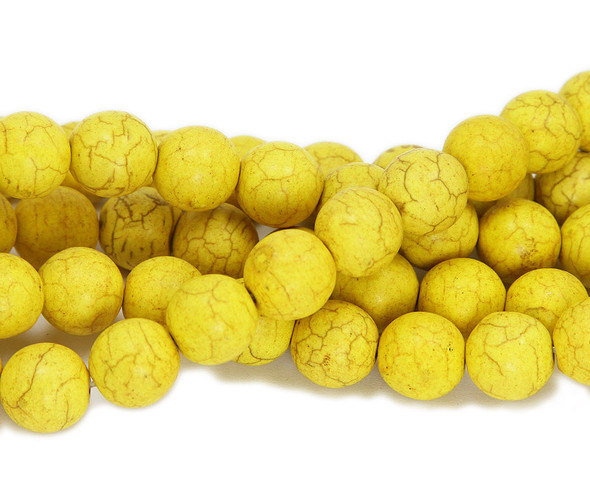 10mm 16 Inch Strand Yellow Howlite Round Beads