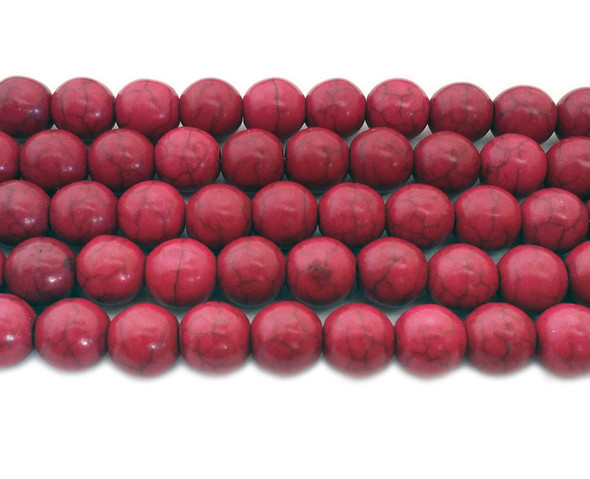 10mm  16 inch strand Deep pink howlite round beads
