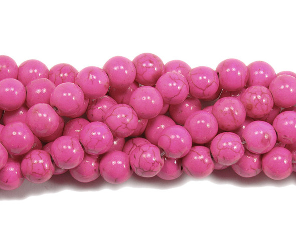 12mm  16 inch strand Deep pink howlite round beads