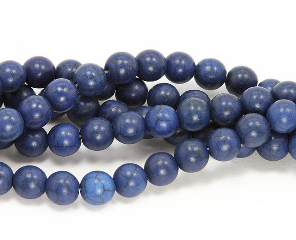 4mm  16 inch strand Lapis blue howlite round beads