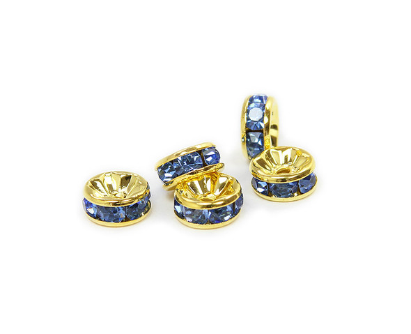 8mm  pack of 50  gold plated brass CZ sky blue spacers