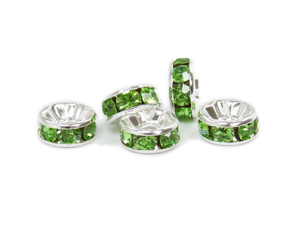 8mm  pack of 50 CZ silver plated spacers with light green stones