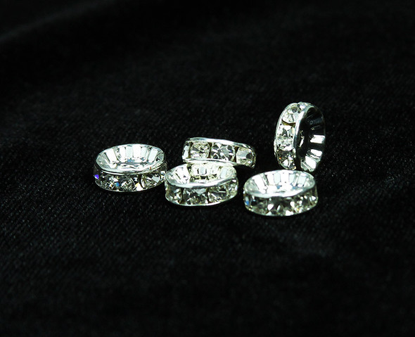 10mm  pack of 40  white crystals  silver CZ spacers