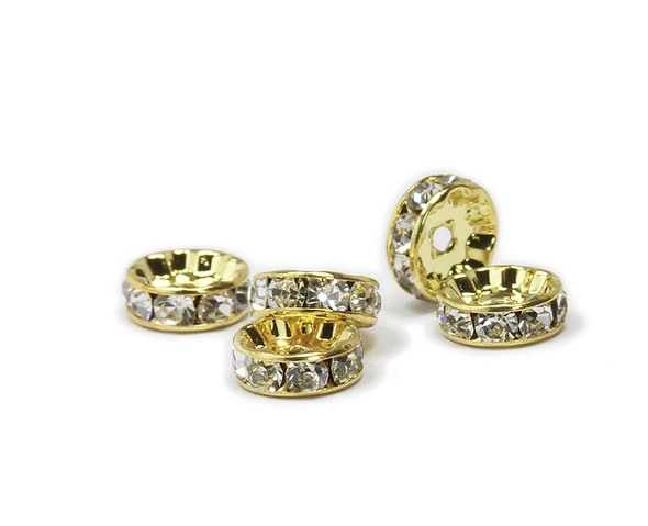 10mm  pack of 40 CZ gold plated spacers with white stones