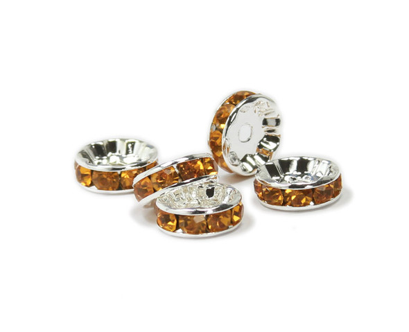 10mm  pack of 40  amber brown  silver plated CZ spacers