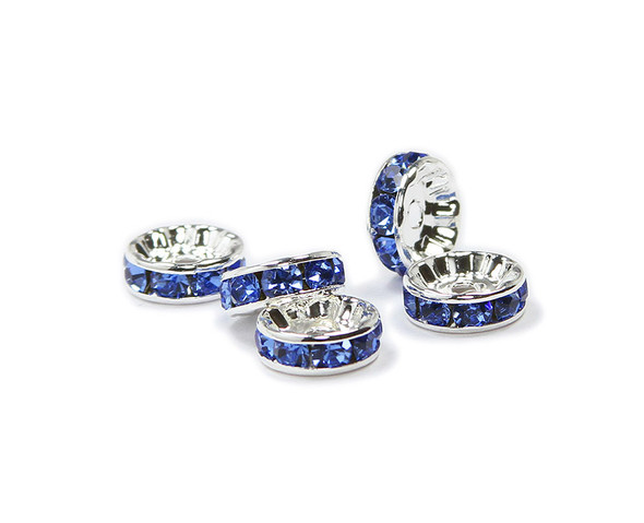 10mm  pack of 40  blue  silver CZ spacer beads
