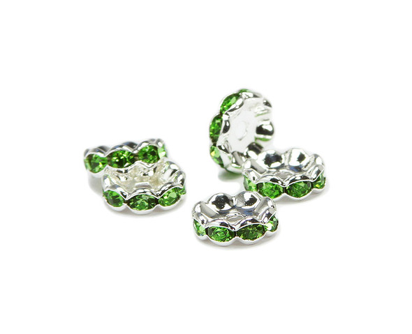 10mm  pack of 40  light green  silver plated brass CZ spacer beads